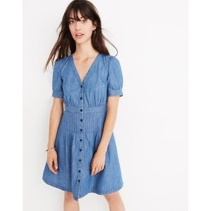 MADEWELL Daylily Denim Puff Sleeve Flare Dress